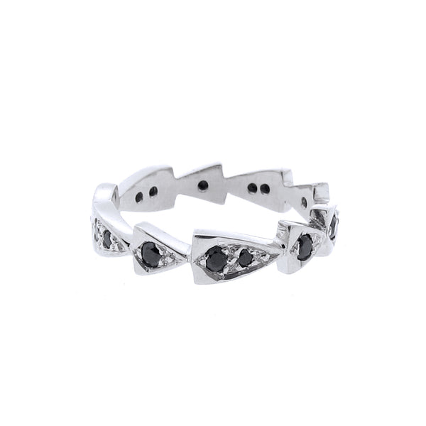 white gold black spinel chasing arrows stackable band