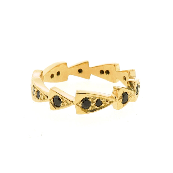 yellow gold black spinel chasing arrows stackable band