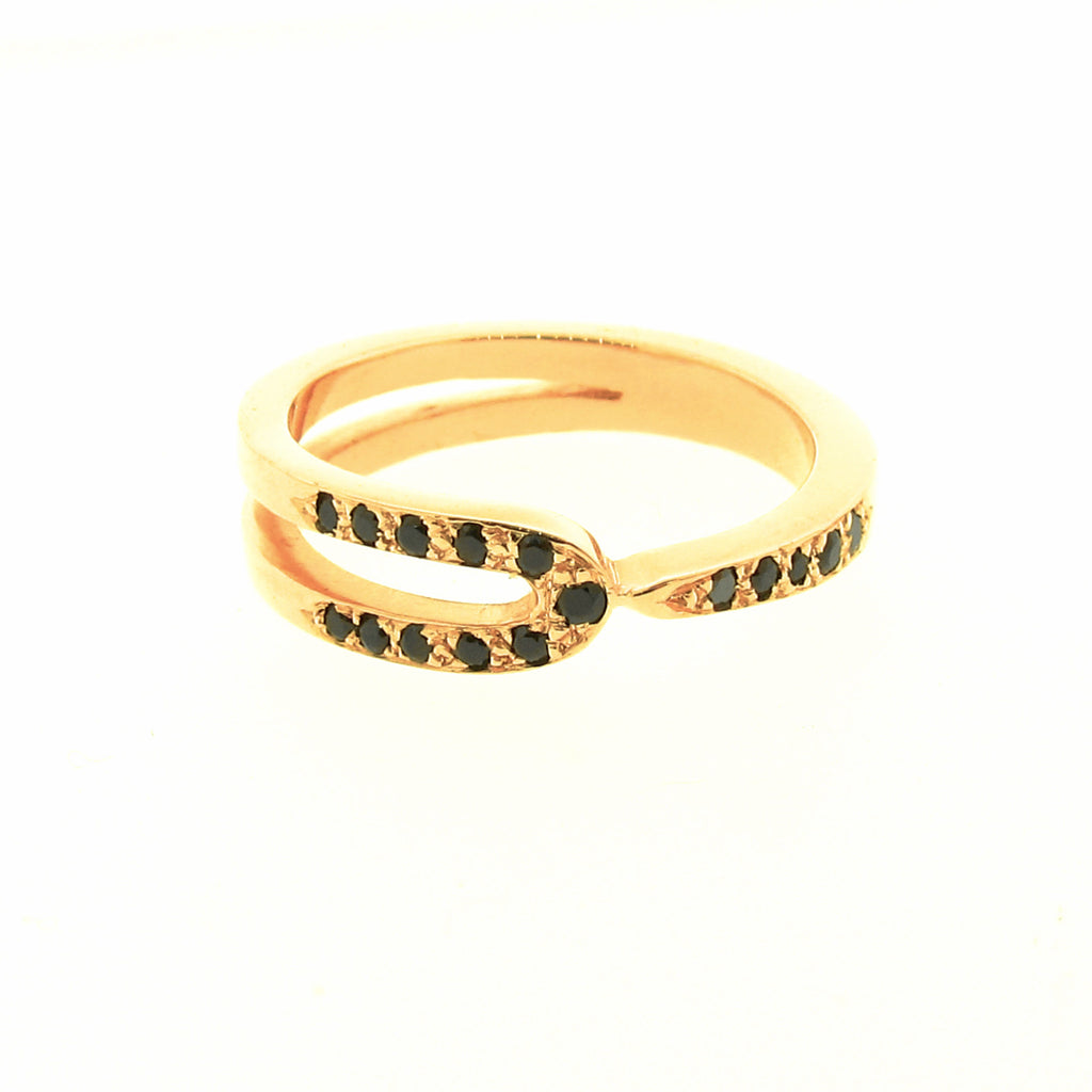 Yellow Gold Black Spinel Travelling stackable band