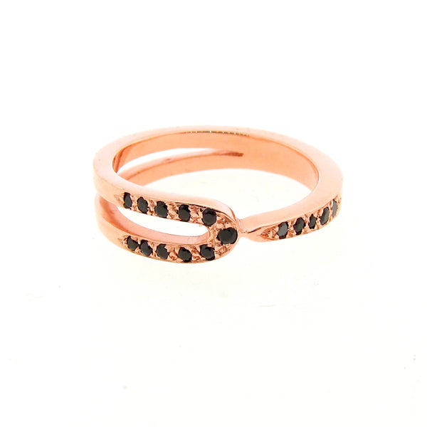 Rose Gold Black Spinel Travelling stackable band