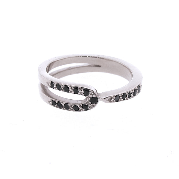 White Gold Black Spinel Travelling stackable band