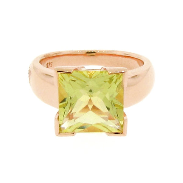 Rose Gold and Lemon Quartz 'Square' Ring