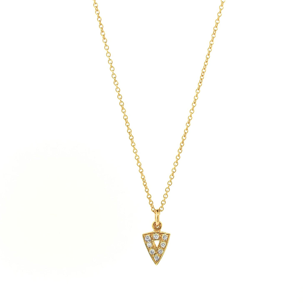 yellow gold diamond mini arrow head pendant