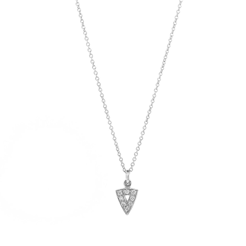 white gold diamond mini arrow head pendant