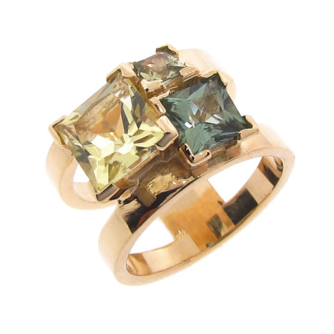 Yellow Gold Forest 'Cubic Trinity' Ring