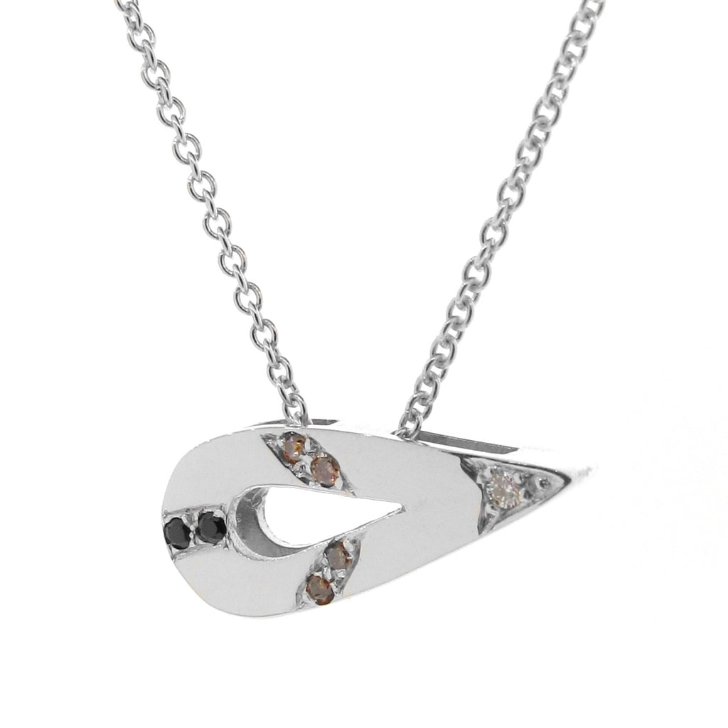 White Gold Small Travelling Pendant with White Diamonds, Champagne Diamonds and Black Spinels