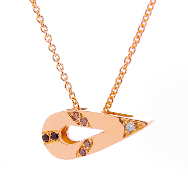 Rose Gold Small Travelling Pendant with White Diamonds, Champagne Diamonds and Black Spinels