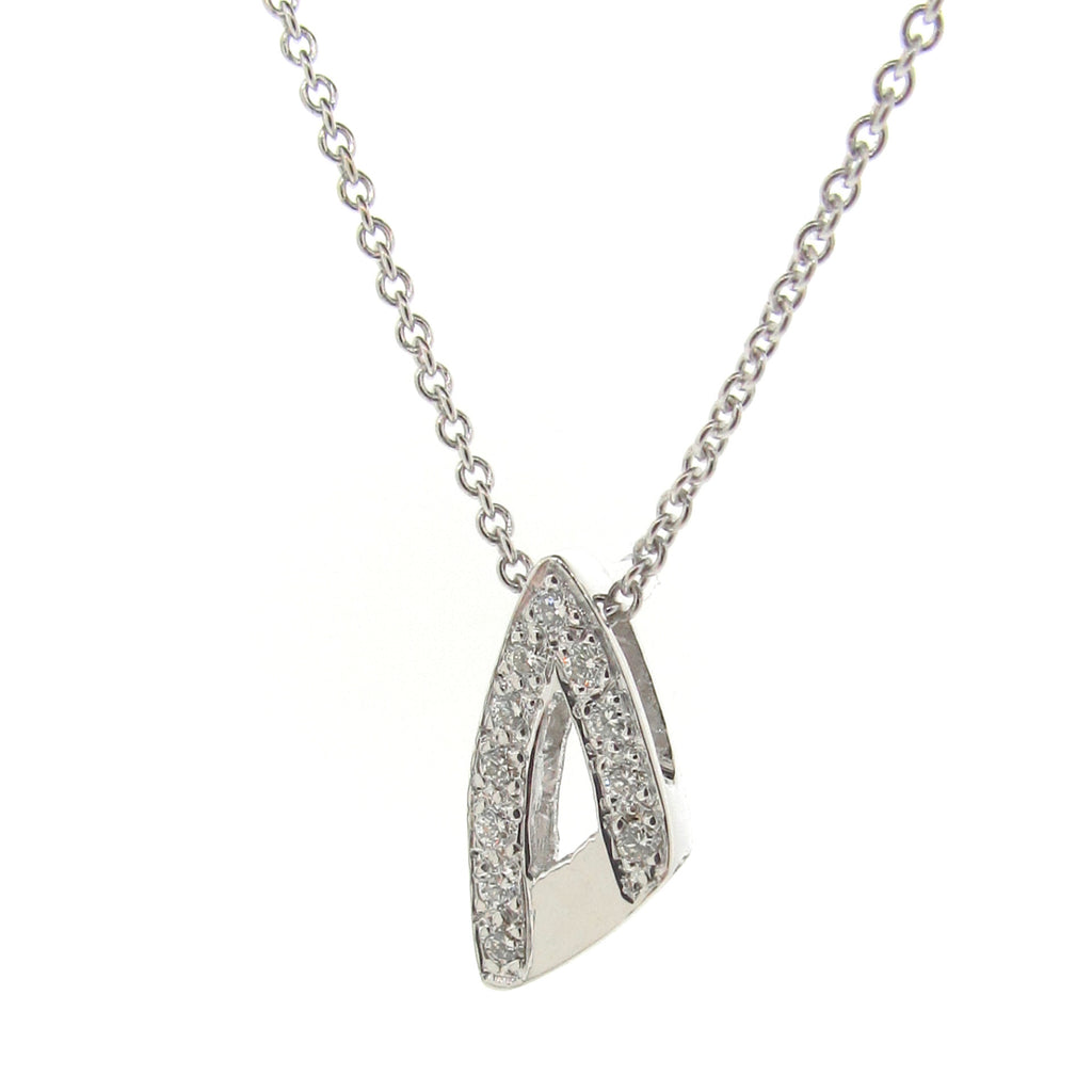White Gold Small Travelling Arrow Head Diamond Pendant