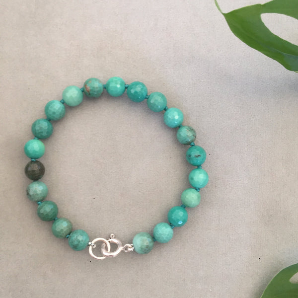Faceted Green Agate Bracelet