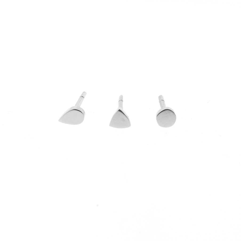 white gold mini- dot, triangle or drop stud