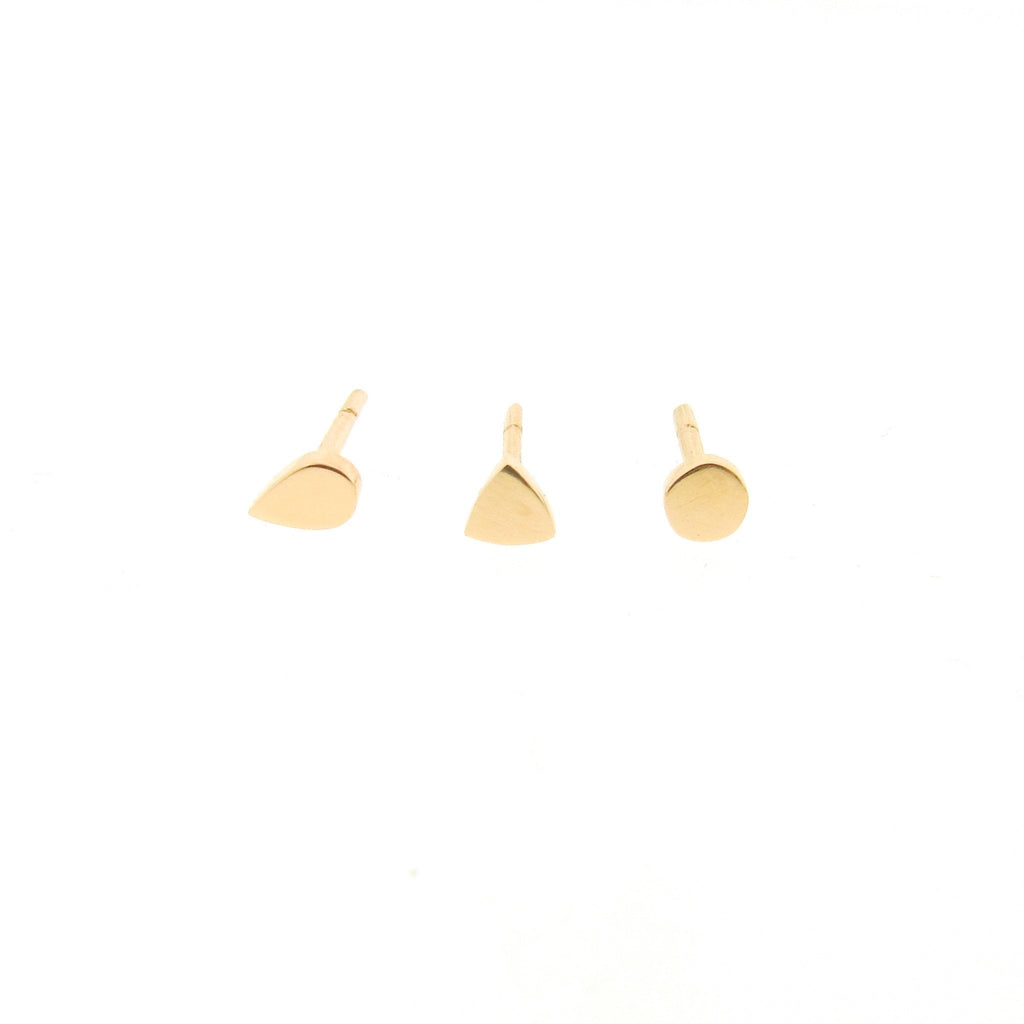 yellow gold mini- dot, triangle or drop stud