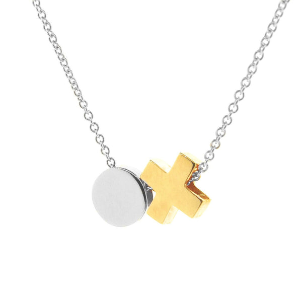 Silver and Yellow Gold Baby Kiss Hug Necklace or anklet