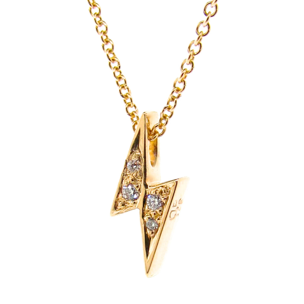 Yellow Gold Diamond 'Baby Lightning Bolt' Pendant