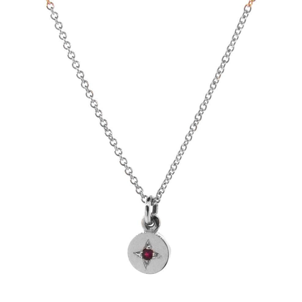 White Gold Ruby Small Eclipse Pendant