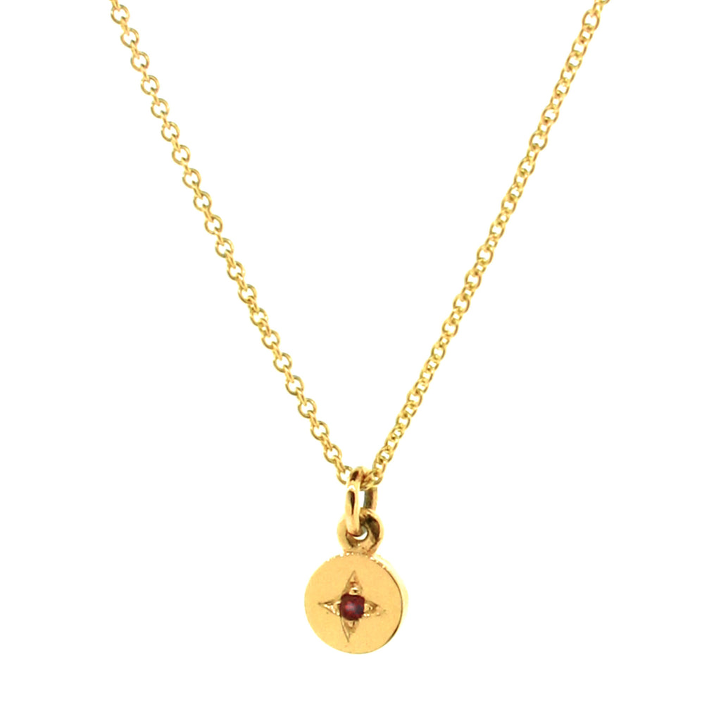Yellow Gold Ruby Small Eclipse Pendant