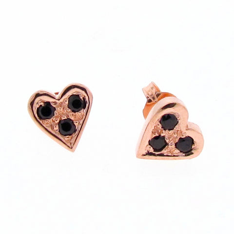 Rose Gold Black Diamond or Spinel Baby Heart Stud Earrings