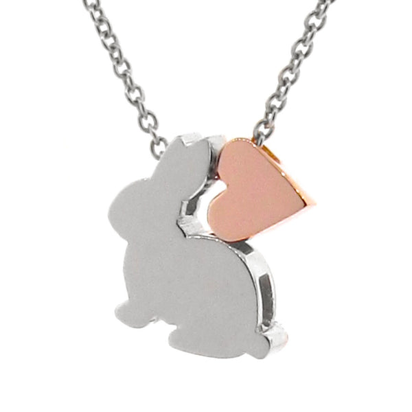 Sterling Silver & Rose Gold Bunny Love Necklace