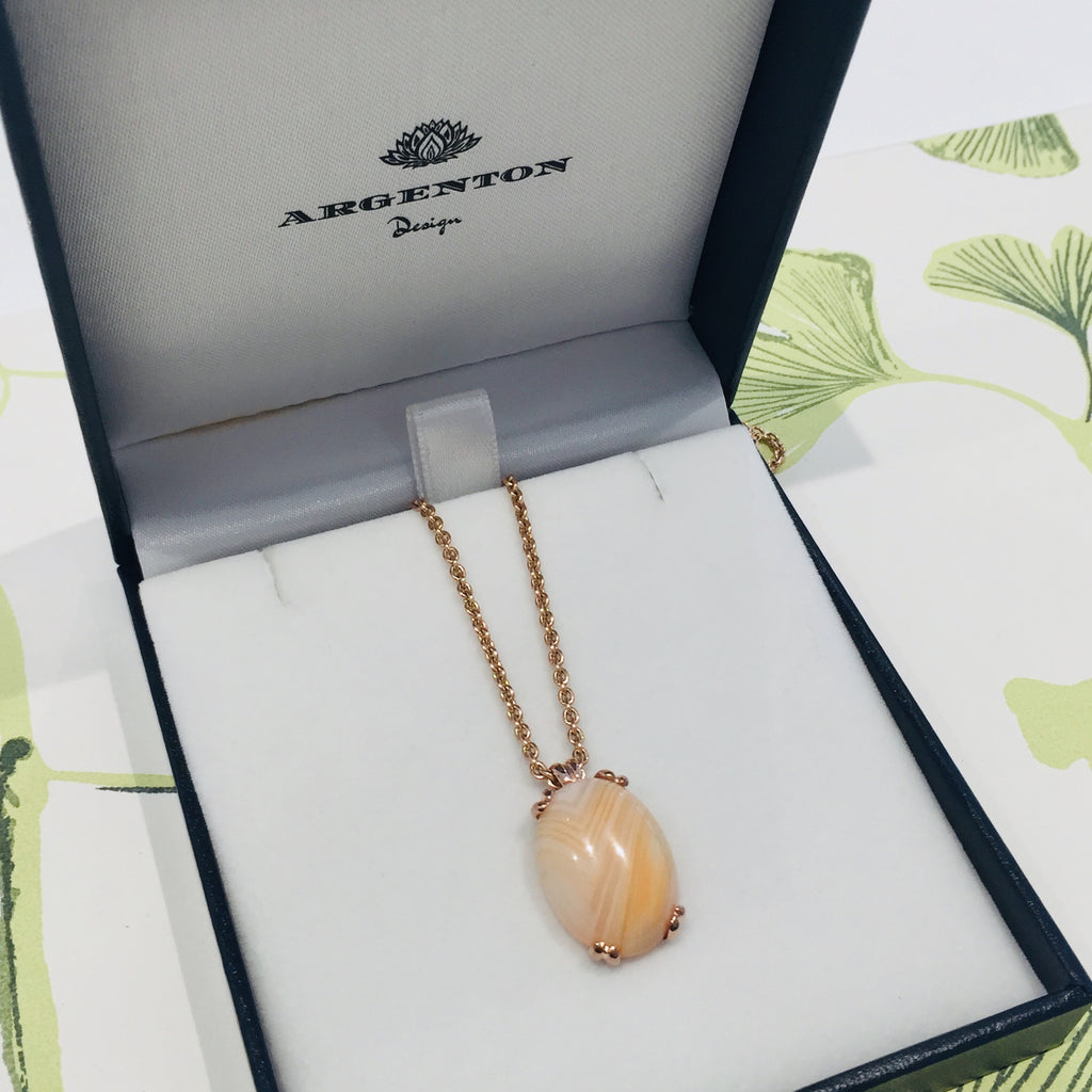 Rose Gold Banded Agate Era Pendant only