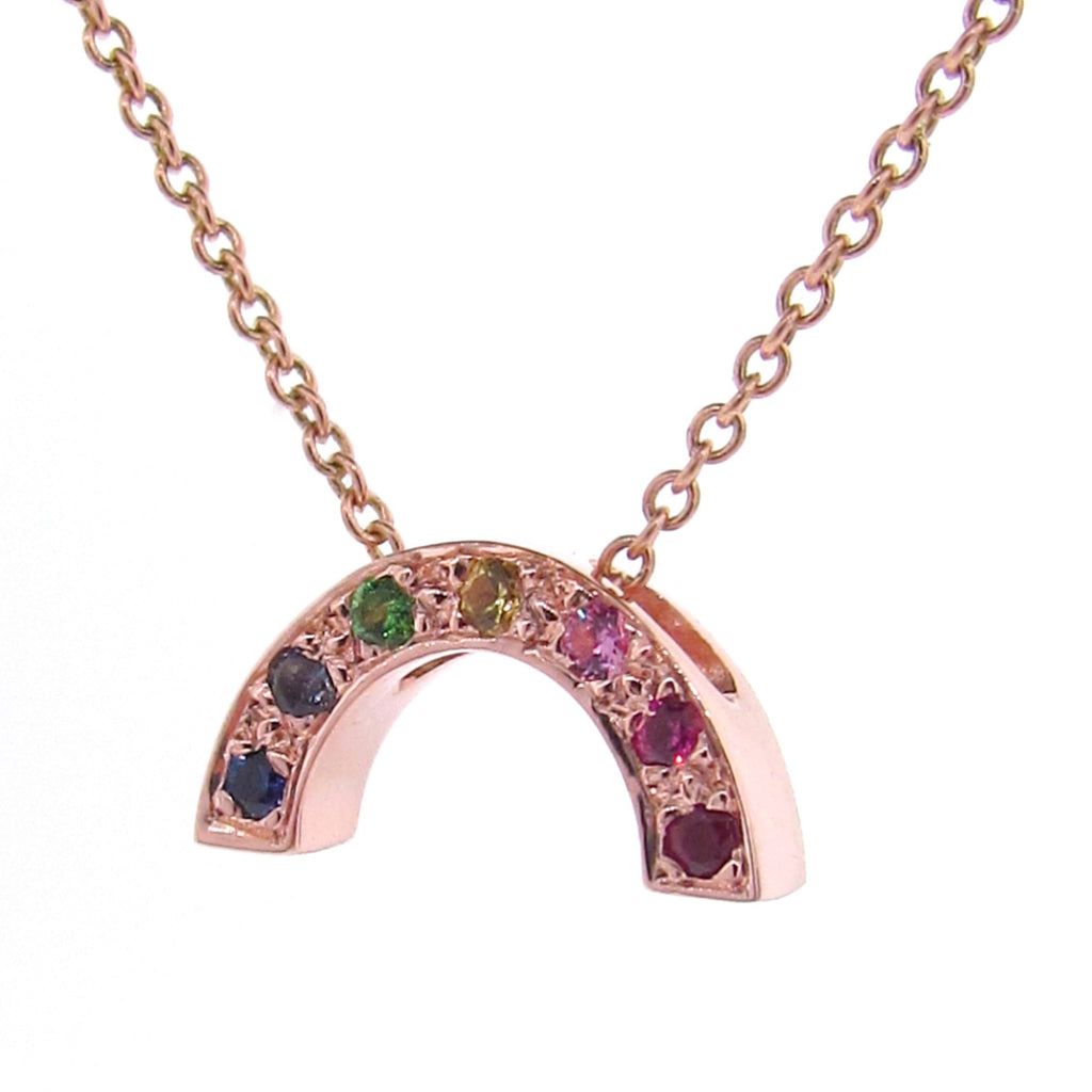 Rose Gold stone set Baby Rainbow Pendant or necklace
