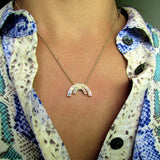 White Gold stone set Baby Rainbow Pendant or necklace