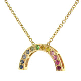 Yellow Gold Bright Medium Rainbow Pendant or necklace