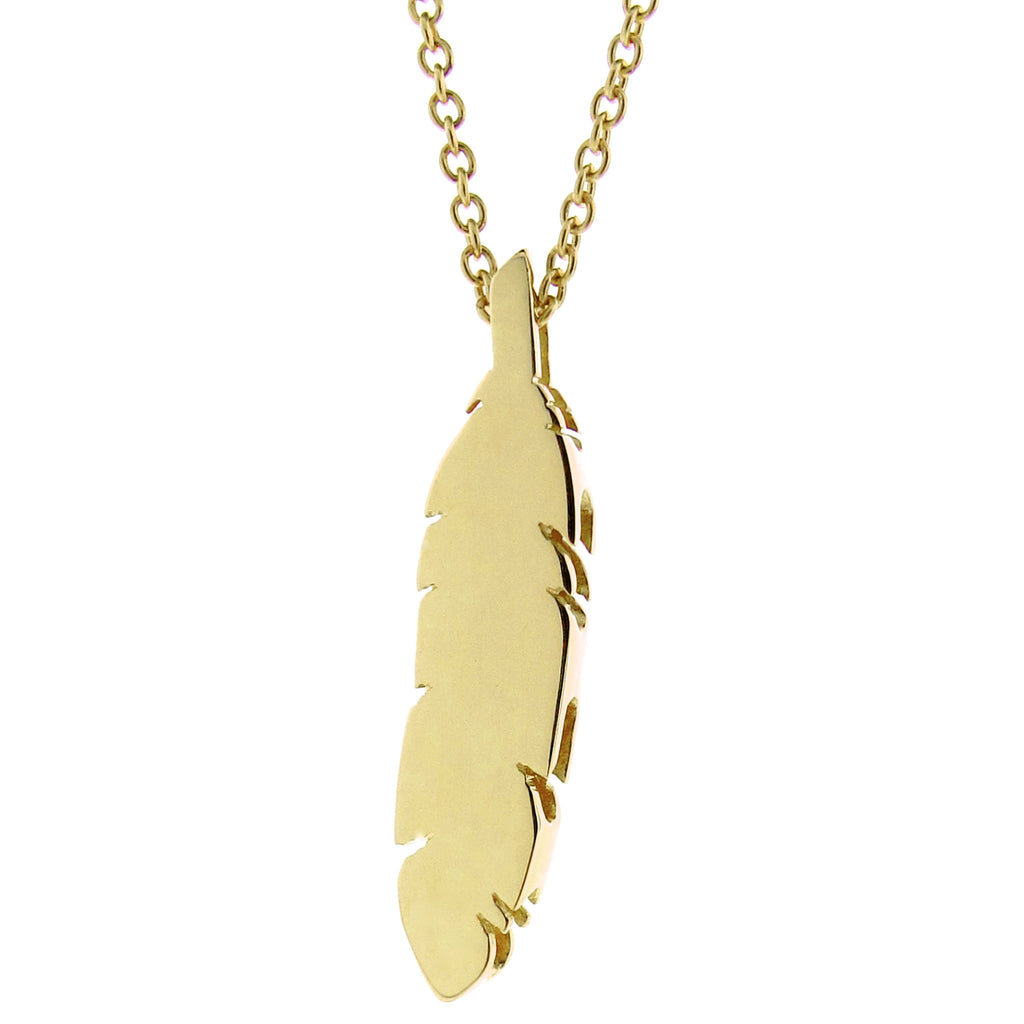 Yellow Gold Feather Pendant or necklace