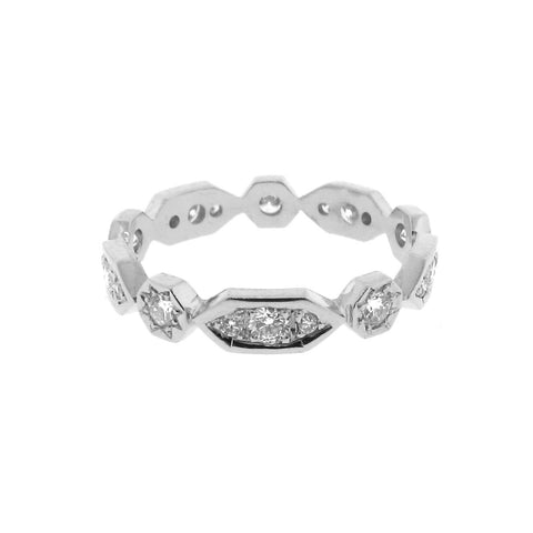 white gold diamond Art Deco stackable band