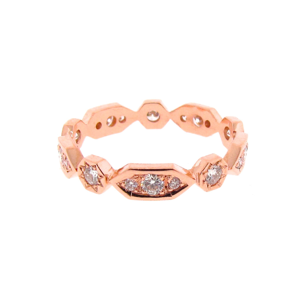 rose gold diamond Art Deco stackable band