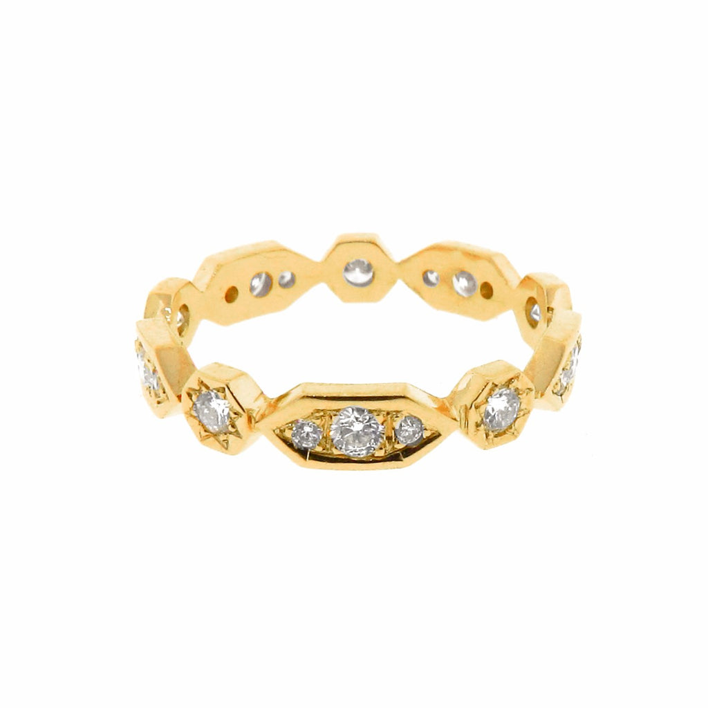 yellow gold diamond Art Deco stackable band