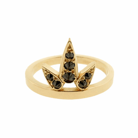 yellow gold black diamond small Lotus ring