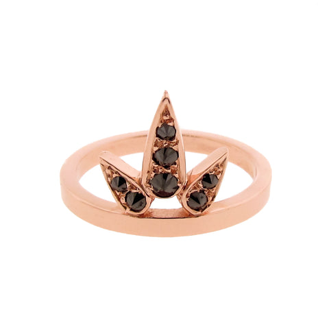 rose gold black diamond small Lotus ring