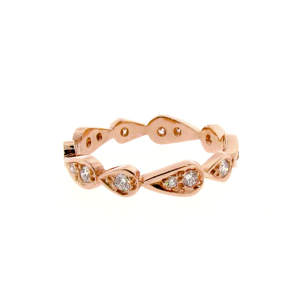rose gold diamond chasing droplets stackable band