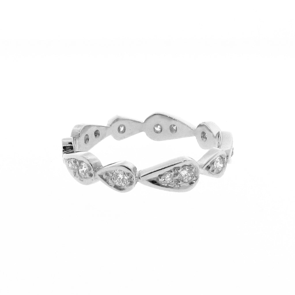 white gold diamond chasing droplets stackable band