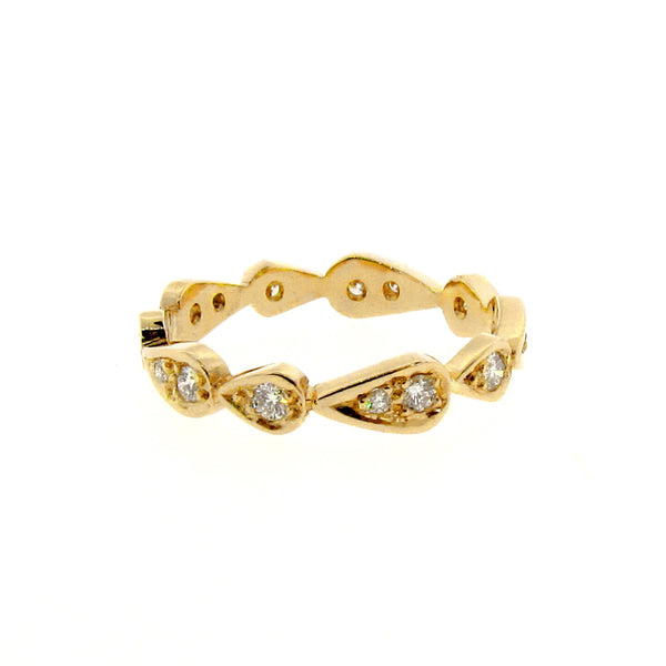 yellow gold diamond chasing droplets stackable band