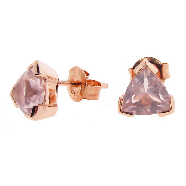 Rose Gold Rose Quartz Trilliant Claw Stud Earrings