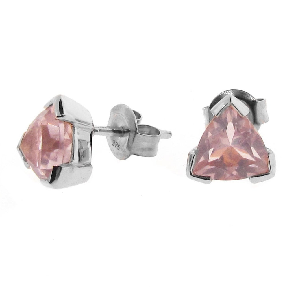 Sterling Silver Rose Quartz Trilliant Claw Stud Earrings