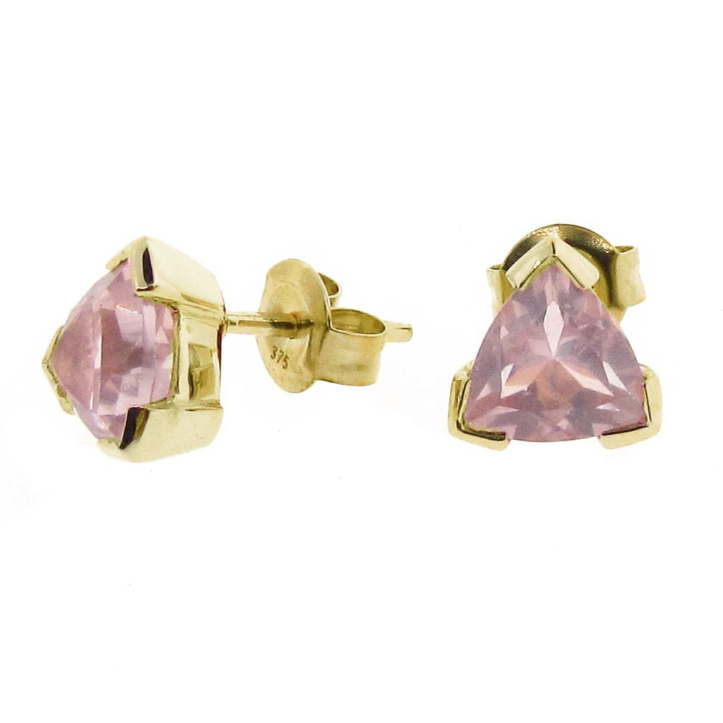 Yellow Gold Rose Quartz Trilliant Claw Stud Earrings