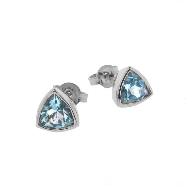 White Gold Blue Topaz 'Trinity' Stud Earrings