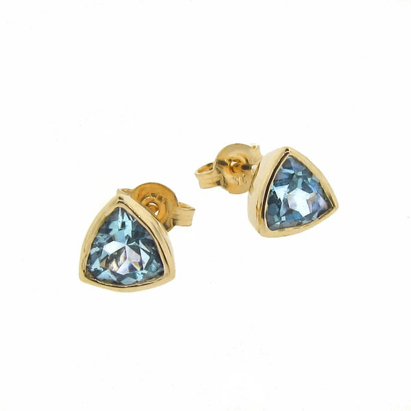 Yellow Gold Blue Topaz 'Trinity' Stud Earrings