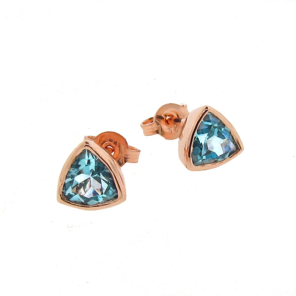 Rose Gold Blue Topaz 'Trinity' Stud Earrings