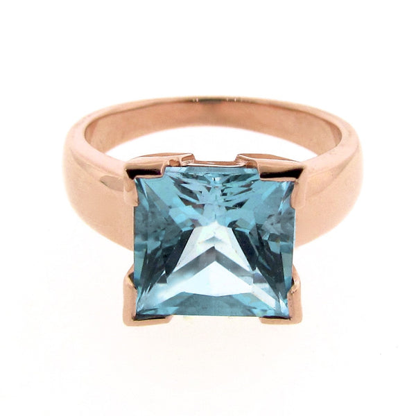 Rose Gold Blue Topaz Princess cut Ring