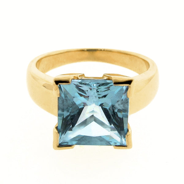 Yellow Gold Blue Topaz Princess Cut Ring