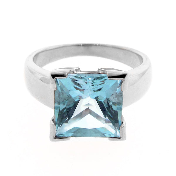 Sterling Silver Blue Topaz Princess Cut Ring
