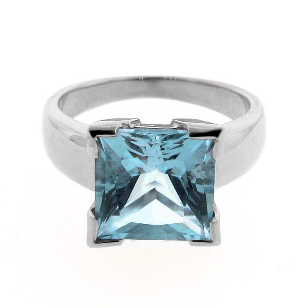 White Gold Blue Topaz Princess Cut Ring
