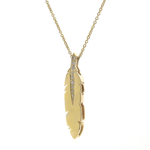 Yellow Gold white Diamond Feather