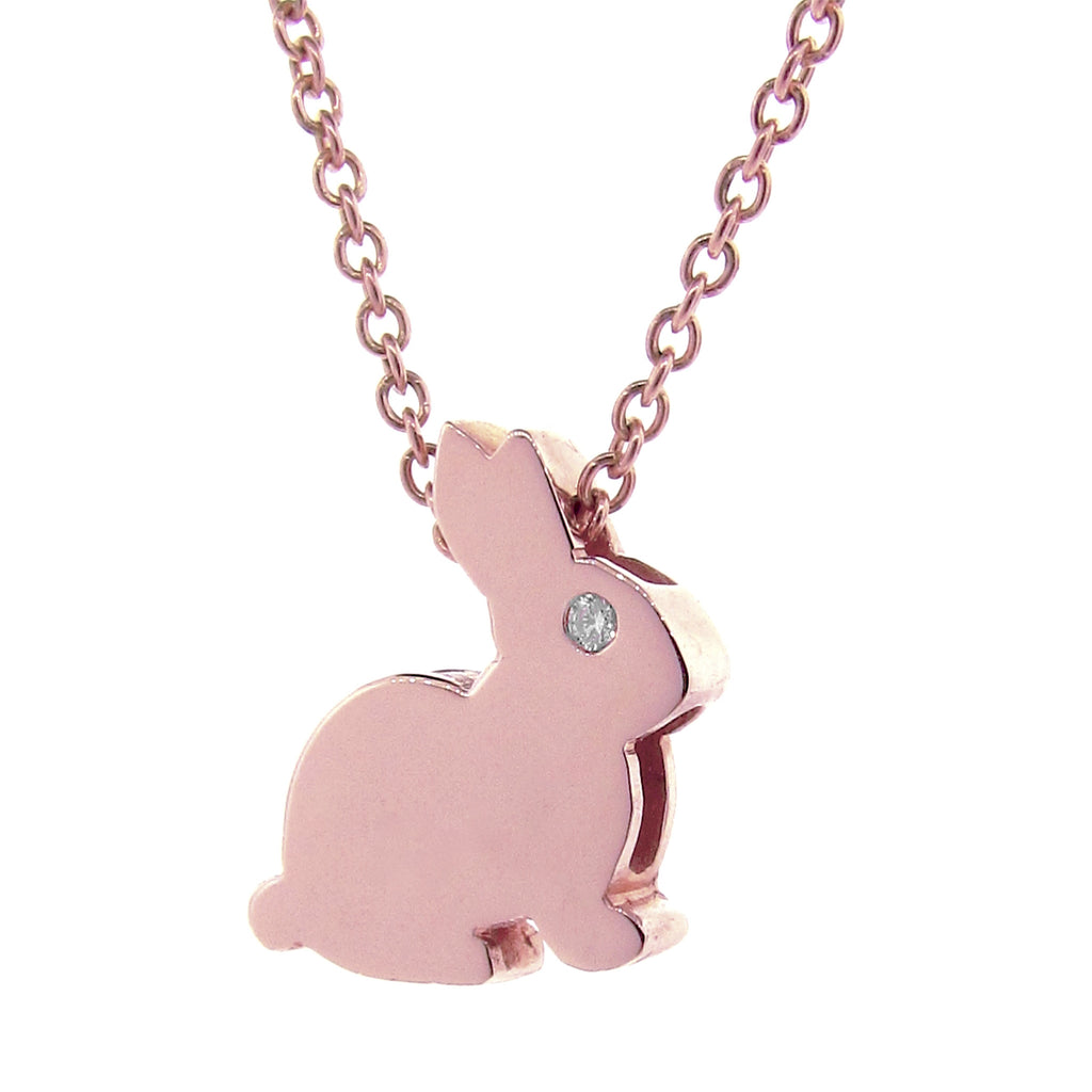 Rose Gold Pink Sapphire, Diamond or Emerald Big Bunny Pendant