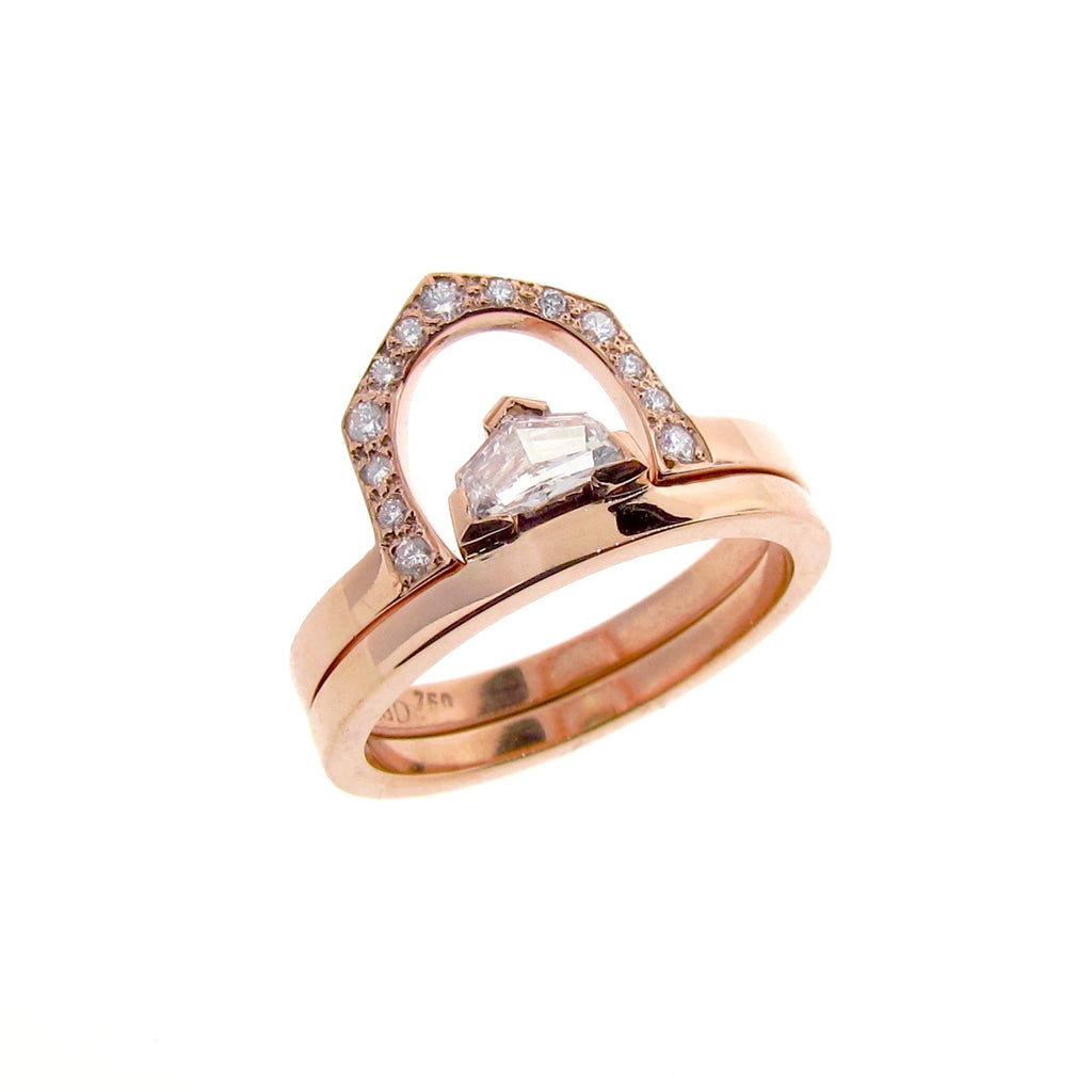 18ct Rose Gold Diamond Cadillac Engagement Ring set