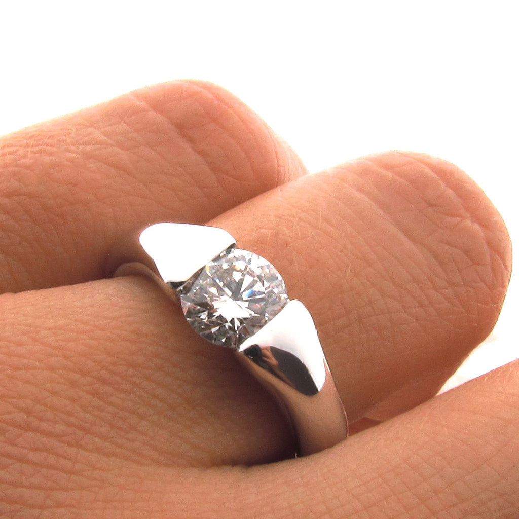 18ct White Gold Diamond Comfort Engagement Ring