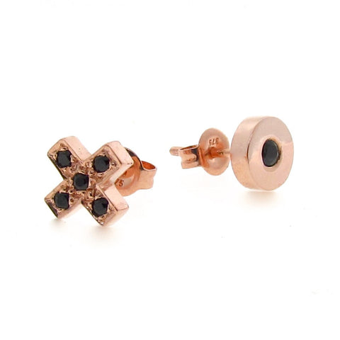 Rose Gold Black Diamond or Spinel Kiss Hug Stud Earrings