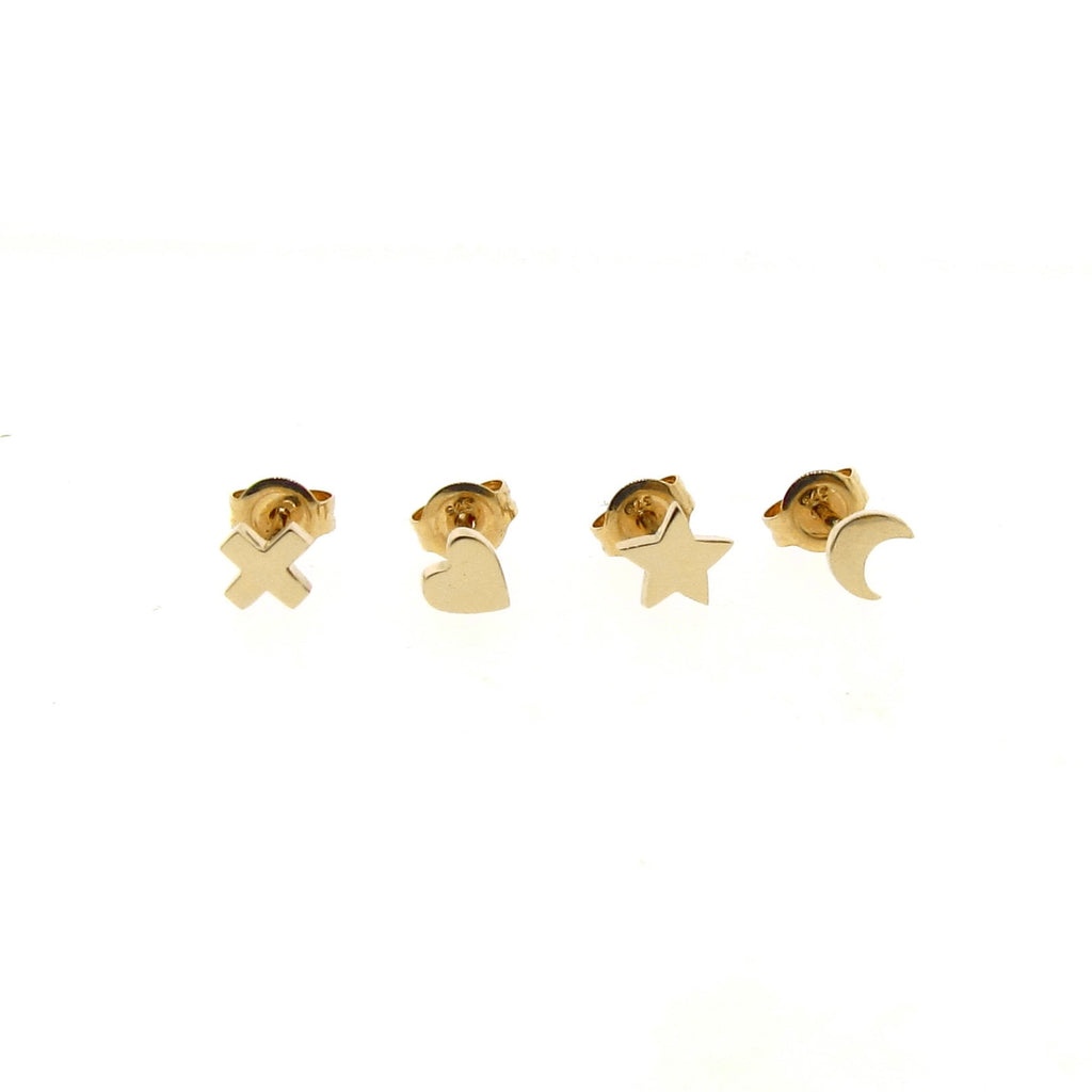 yellow gold mini- moon, star, heart or kiss stud